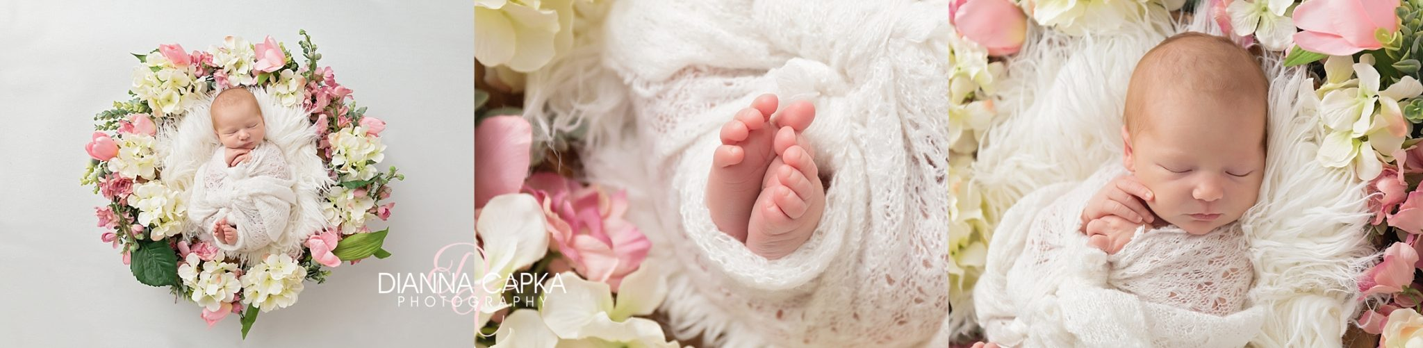 Newborn Charlotte in pink and white floral wreath newborn toes