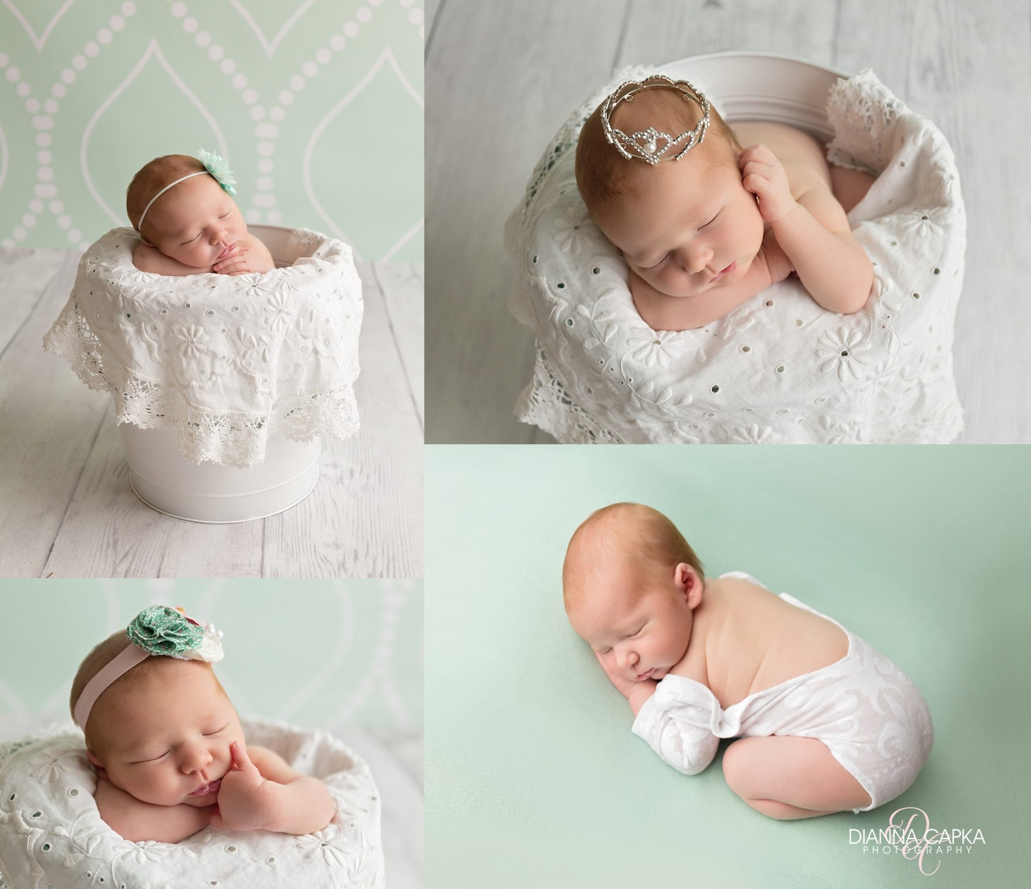 Newborn Charlotte on mint and vintage doily and crown