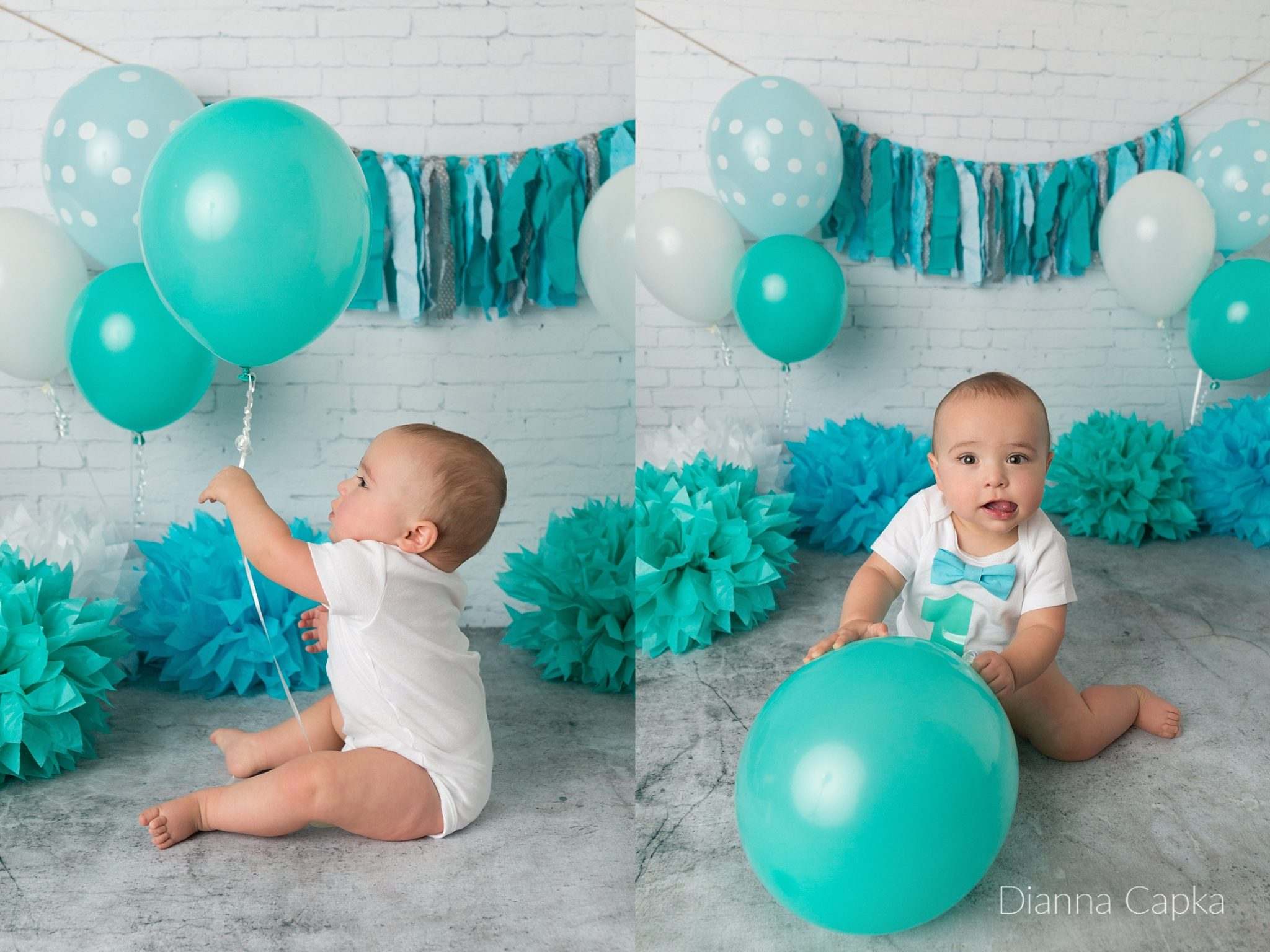 One year old portraits with a balloon