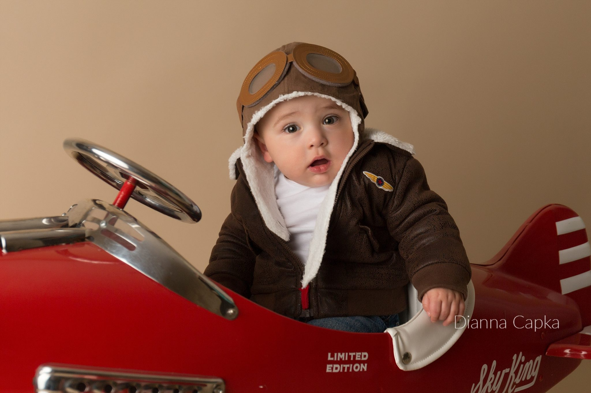 One year old airplane portrait session